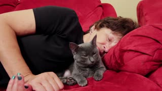 Cat and owner relaxing on couch
