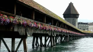 Chapel Bridge landmark in Luzern Switzerland