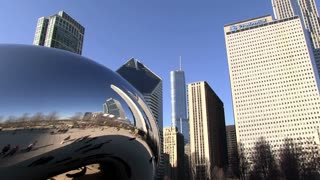 Chicago buildings reflecting in Cloud Gate