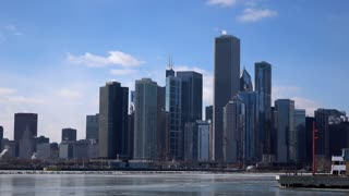 Chicago skyline seen along Lake Michigan 4k