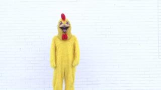 Chicken doing Dance on Brick background