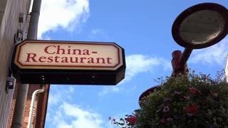 China restaurant sign on exterior of building 4k