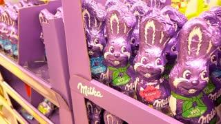 Chocolate Milka Easter bunnies on sale at German grocery store 4k