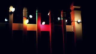 Christmas lights outside of house blinking