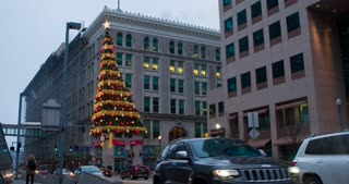 Christmas tree on side of building in downtown Pittsburgh 4k