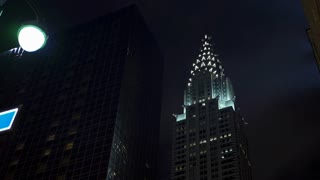 Chrysler building at night in New York City 4k