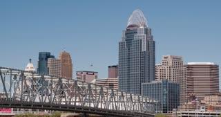 Cincinnati cityscape with Great American Insurance Group building 4k