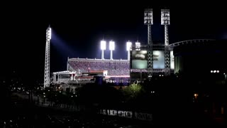 Cincinnati reds stadium at night fans cheering