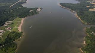 Circling lake in airplane