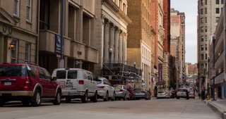 City backstreet of Pittsburgh downtown establishing shot 4k