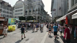 City crowd of people in Lucerne Switzerland