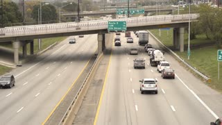 City highway traffic through down Kansas 4k