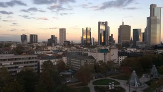 City of Frankfurt Germany skyscrapers at sunset