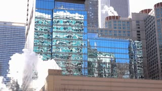 City reflection of buildings in downtown Chicago 4k