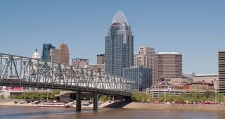 City skyline of Cincinnati Ohio along river 4k