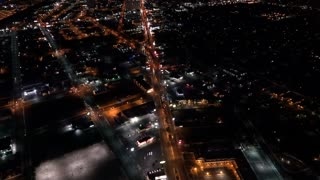 City traffic at night seen from aerial view