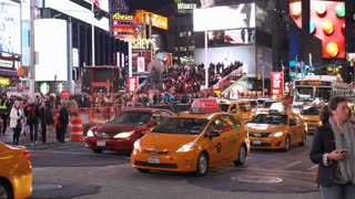 City traffic in downtown New York City Times Square 4k
