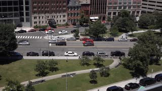 City traffic in downtown Washington DC aerial view 4k