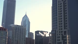 City view of downtown Chicago buildings 4k