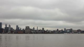 Cityscape of New York city in fog