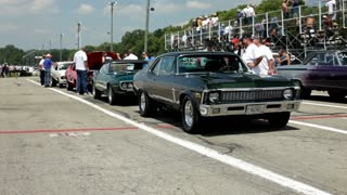 Classic cars at drag strip