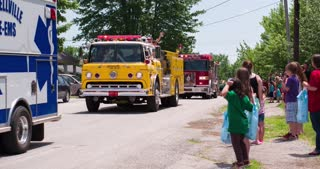 Classic fire truck in 2014 firemans parade 4k