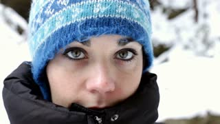 Close up of Girls Face in Winter Snow
