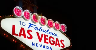 Close up of Las Vegas welcome sign 4k.