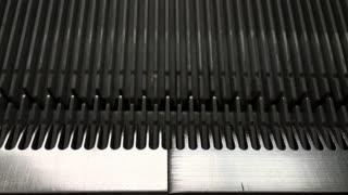Close up shot on repetitive escalator track 4k