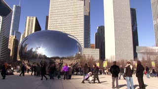 Cloud Gate Downtown Chicago wide angle