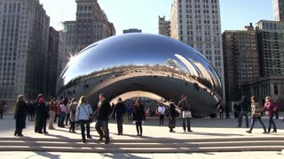 Cloud Gate seen as bean in downtown