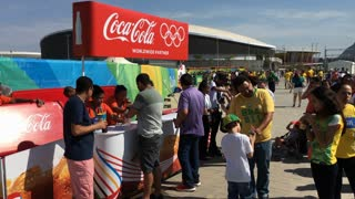 Coca Cola booth selling drinks to Olympic 2016 fans 4k