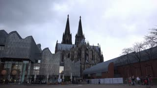 Cologne Dom on cloudy and rainy day 4k