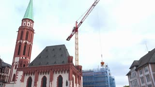 Construction at Roemer in downtown Frankfurt Germany 4k