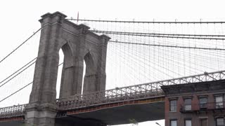 Construction on Brooklyn Bridge in DUMBO New York 4k