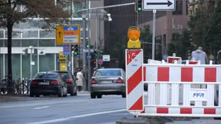 Construction on road in downtown city of Frankfurt Germany 4k