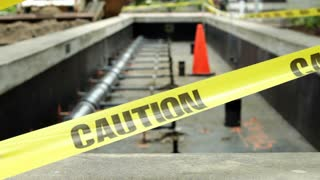 Construction site blocked by caution tape