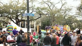 Corner of St  Charles and Milan Mardi Gras Parade
