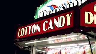 Cotton Candy sign at Night carnival