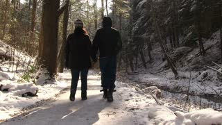 Couple walking through Woods in snow