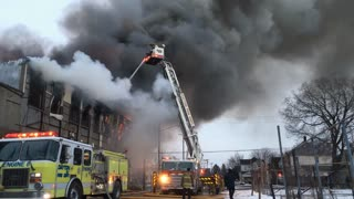 Crew of Dayton Fire Department putting out warehouse fire 4k