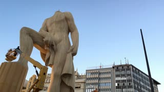 Crew working on constructing Fallas in downtown Valencia 4k