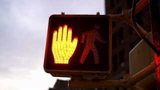 Cross walk signal for pedestrians in downtown of city 4k