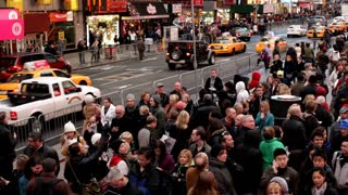 Crowd of people in New York City times square