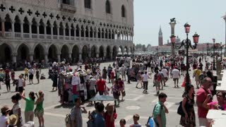 Crowd of people in Saint Marks Square Venice