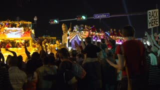 Crowds of people cheering at Endymion parade