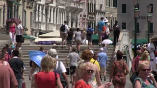 Crowds of people in Venice Italy