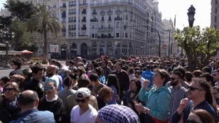 Crowds of people waiting for Fallas la Mascleta display 4k