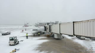 Dallas Fort Worth DFW airport during snow