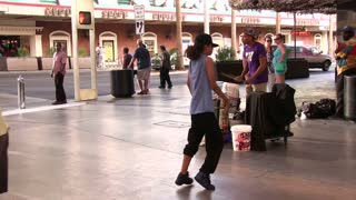 Dancing Performance by young man on Fremont Street